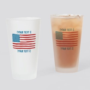[Your Text] 'Handmade' US Flag Drinking Glass